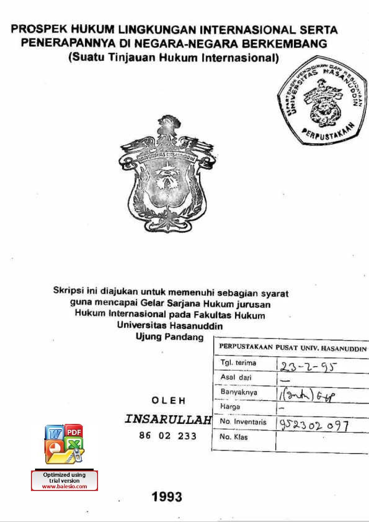Prospek Hukum Lingkungan Internasional Serta Penerapannya Di Negara Negara Berkembang Suatu Tinjauan Hukum Internasional Insarullah Perpustakaan Universitas Hasanuddin